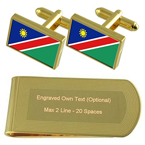 tone Gold Set Money Flag Gift Cufflinks Namibia Engraved Clip qzwE4xxC