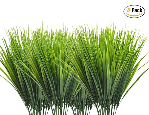 CATTREE Artificial Shrubs Bushes, Plastic Wheat Grass Green Leaves Fake Plants Wedding Indoor Outdoor Home Garden Verandah Kitchen Office Table Centerpieces Arrangements Christmas Decoration 8 pcs by CATTREE