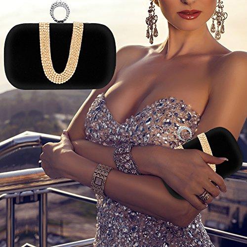 Purse Ladies Wedding Handbags Black Crossbody Party Rhinestone Burgundy Clutch Bag Prom Ua6wEqaZ