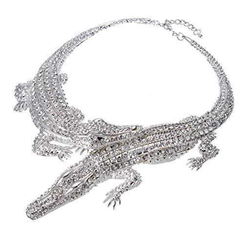 XBY-Jewel Fashion Statement Jewelry Gold/Silver Crocodile Chain Rhinestone Choker Bib Necklace for Women/Men -