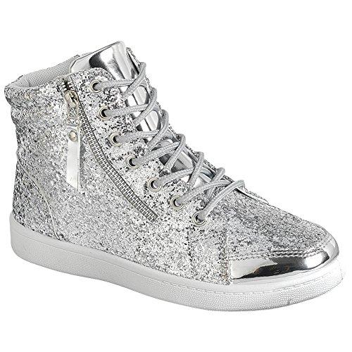 Snj Femmes Lace Up Paillettes Haut Haut À Bout Rond Mode Sneaker Argent Paillettes