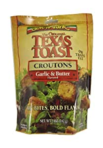 New York Texas Toast Croutons Garlic & Butter, 5-Ounce Bags (Pack of 12)