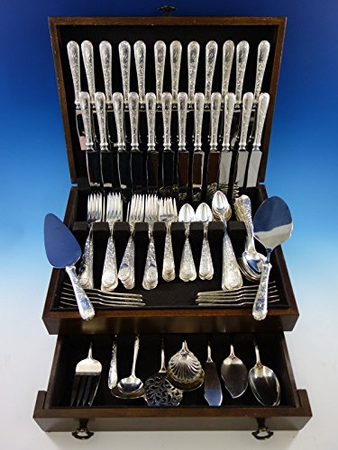 Old Maryland Engraved by Kirk Sterling Silver Flatware Service Set 121 pc Mono M