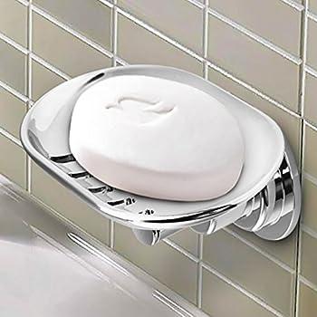 Bopai Elegant Suction Soap Dish,Powerful Vacuum Suction Cup Soap Holder, Bathroom Kitchen