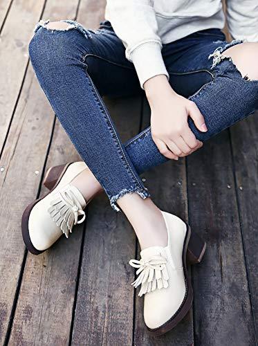 36 Singolo Stile Hwf Scarpe Col Bianca Pelle Donna Dimensioni Bianca Tacco colore British Alto RS78qw7x