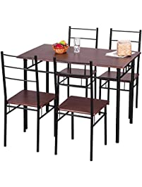 merax 5 piece dining set table and chairs kitchen modern furniture with steel frame brown. beautiful ideas. Home Design Ideas