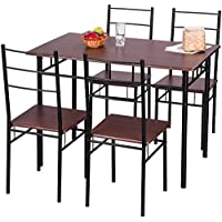 Merax 5 Piece Dining Set Table and Chairs Kitchen Modern Furniture with Steel Frame (Brown)