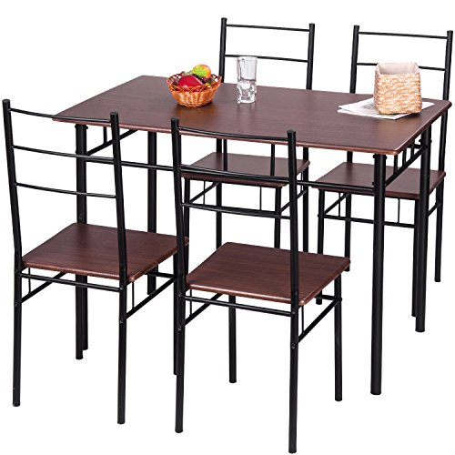 Merax 5 Piece Dining Set Table and Chairs Kitchen Modern Furniture with Steel Frame (Brown) by Merax