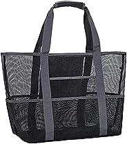 Mesh Large Black Beach Bag Large Beach Tote Bag 55 x 23 x 38 cm Folding Shoulder Bag Women Summer Bag for Fami