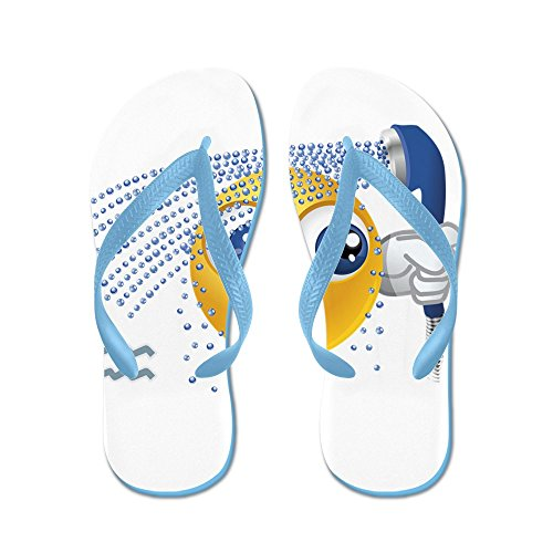 Echt Teague Heren Smileyface Zodiac Aquarius Rubberen Slippers Sandalen Caribbean Blue