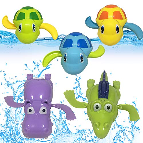 JollySweets Turtles Hippo Crocodile Wind Up Toys Floating Bath Toys 5 Pcs, Bathtub Toys for Toddlers, Clockwork Water Toys Swimming Toys Boys and (Wind Up Bath Toy)