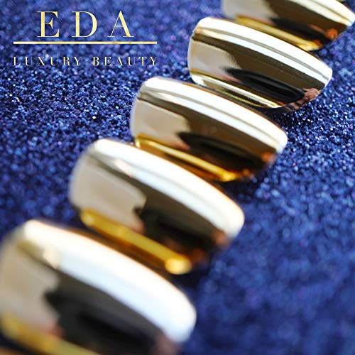 EDA LUXURY BEAUTY GOLD METALLIC CHROME GLAMOROUS DESIGN Full Cover Press On Gel Glitter Artificial Tips Holographic Acrylic False Nails Medium Long Ballerina Coffin Square Super Fashion Fake Nails