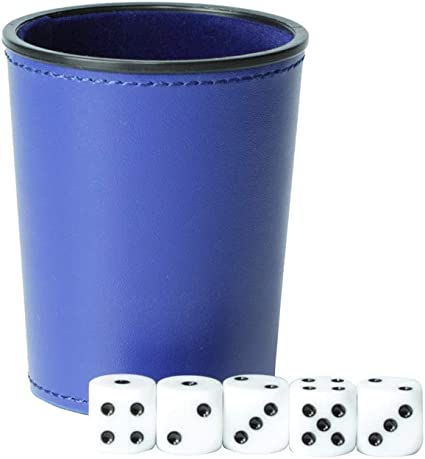 blue Magic Vosom Leather Dice Cup Set Felt Lining Mini Shaker Cup with 5 Dice