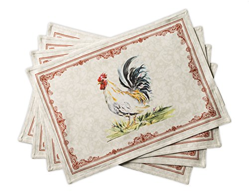 Maison d' Hermine Campagne 100% Cotton Set of 4 PlaceMats 13 Inch by 19 Inch (Rooster Table Mats)
