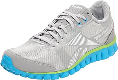 Reebok Women's Realflex Optimal Running Shoe,Pure Silver/White/Charged Green/Buzz Blue,5.5 M US