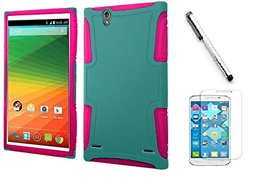 Huawei Pronto LTE H891L case, Huawei Vision 3 LTE case, Luckiefind Rubberized Slim Dual Layer Hybrid Cover Case, Stylus Pen & Screen Protector Accessory (Hybrid Teal)