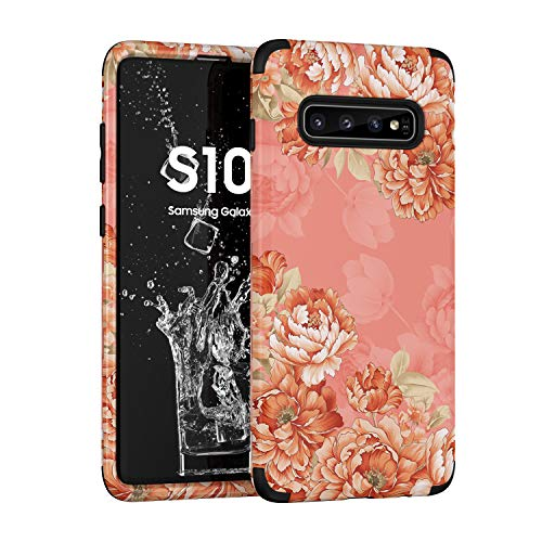 Flower Case for Galaxy S10 Floral Design Cover 3 in 1 Heavy Duty Protection Hybrid Rugged Soft Bumper Defender Full Body Shockproof Protective Case for Samsung Galaxy S10 6.1 inch 2019 (Orange)
