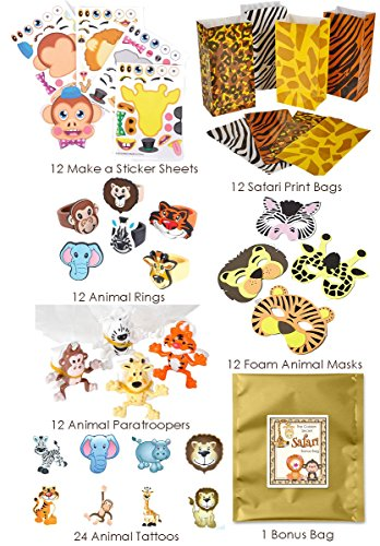 84 Piece Zoo Animal Safari Theme Birthday Party Favor Bundle Pack for 12 Guests (12 Masks, 12 Safari Print Bags, 12 Rubber Rings, 24 Tattoos, 12 Make a Sticker Sets, 12 Paratroopers)]()