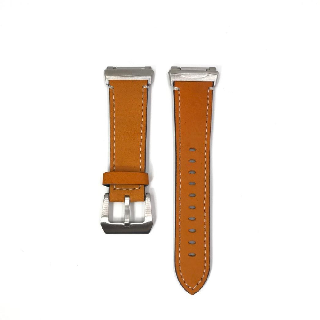 Binmer (TM) レザーバンドブレスレットウォッチバンドfor Fitbit Ionic 120+75mm ブラウン ブラウン ブラウン B076HKQGHC