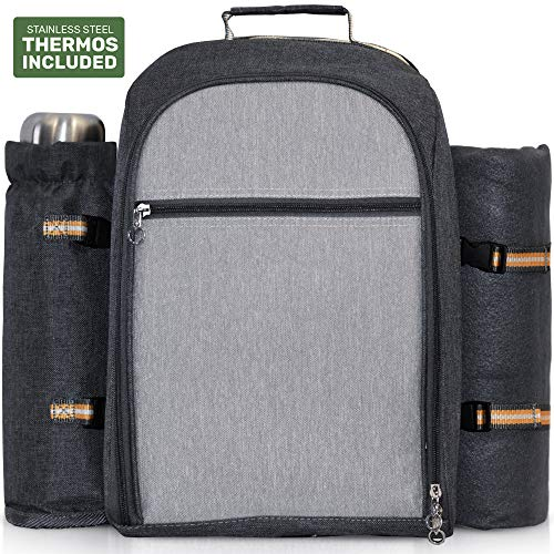 Scuddles | Picnic Backpack | Includes A Thermos Plates Picnic Blanket Forks Spoons And Much More - Insulated And Lightweight