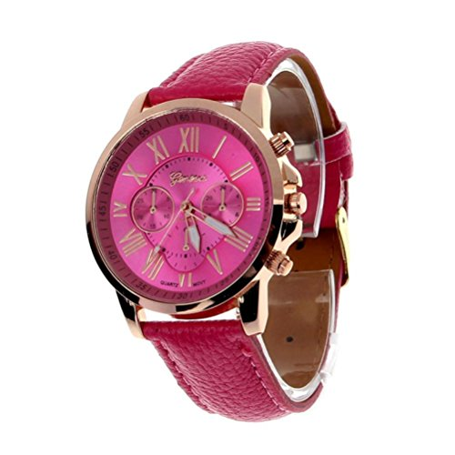 Winhurn Fashion Faux Leather Analog Quartz Women Wrist Watch with Roman Numerals (Hot Pink)