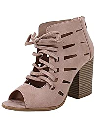 Soda Women's Cutout Lace Up Stacked Chunky Heel Peep Toe Bootie