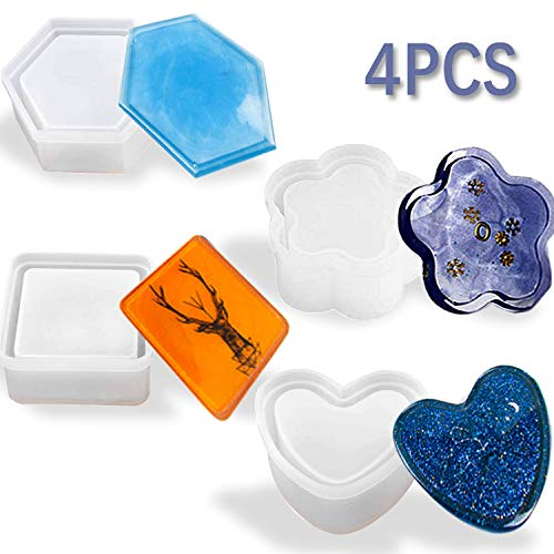 4 Pcs Box Resin Molds with lids, Silicone Jewelry Epoxy Mold Sets with Heart Shape, Hexagon, Square and Flower for Storing Earrings, Rings, Coins, Keys or Making Flower Pot, Ashtray, Pen&Candle Holder.