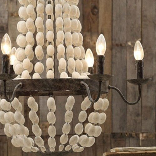 Iron-Frame-Wood-Wooden-Beads-Ball-Pendant-Chandelier-Lamp-6-Lights-32-Large-Fixture-Rustic