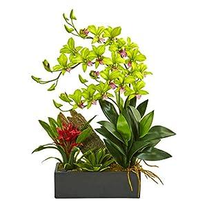 Artificial Flowers -Dendrobium and Bromeliad Green Arrangement 42