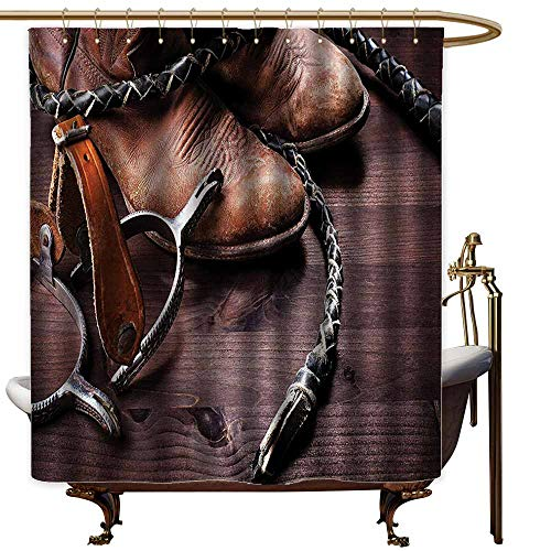 Ladies Pow Spurs - Shower Curtains for Bathroom Spring Western Decor,Authentic Old Leather Boots and Spurs Rustic Rodeo Equipment USA Style Art Picture,Brown,W36 x L72,Shower Curtain for Women