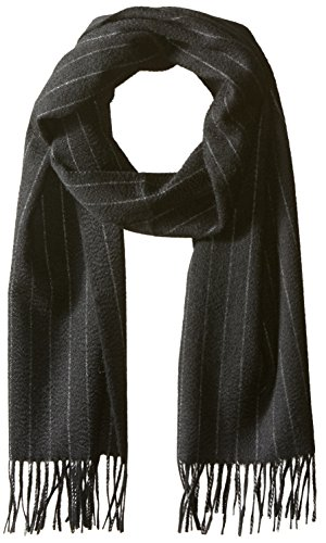 Hickey Freeman Men's Cashmere Pinstripe Scarf, black/white, One Size by Hickey Freeman