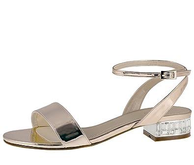 separation shoes 22467 50d07 Rainbow Club Brautschuhe Whitny - Damen Sandaletten gepolstert, flach,  Silber, Rosé-Gold, Glanzlack