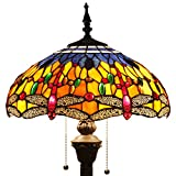 Tiffany Style Reading Floor Lamp Blue Orange Dragonfly Table Desk Lighting H64 Inch for Bedroom