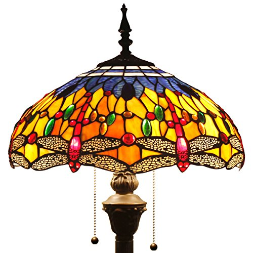 WERFACTORY Tiffany Style Reading Floor Lamp Blue Orange Dragonfly Table Desk Lighting H64 Inch for Bedroom