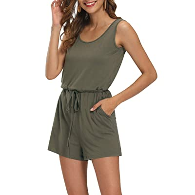 AMPOSH Women's Scoop Neck Romper Cute Casual Summer Sleeveless Tank Short Jumpsuit with Pockets: Clothing