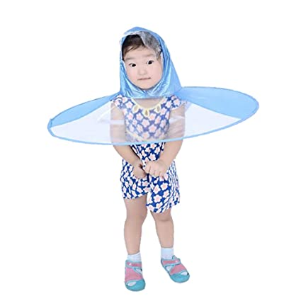 Cute Rain Coat UFO Children Umbrella Hat Magical Hands Free Raincoat (Blue) 912fa09a79cc