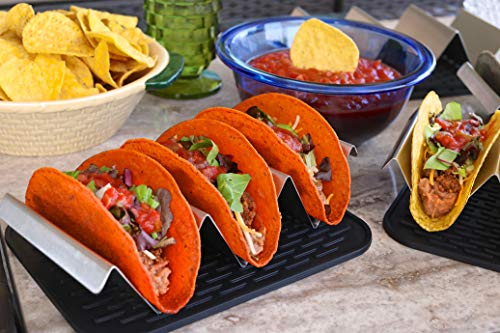 Premium stainless steel taco holder with placement mat by Verione Inc (Image #2)