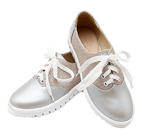 WeenFashion Shoes Pumps Lace Women's Color PU Assorted Toe Heels Low Up Round Silver ffAPrxwq