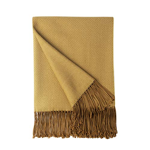 Bourina Herringbone Two Tone Throw Blanket Faux Cashmere Fringe Soft Lightweight Cozy for Bed Couch Decorative Throws Blanket,Gold, 50