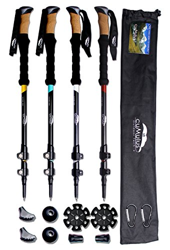 Cumulus Trekking Hiking Walking Poles 100 Carbon Lightweight Collapsible with Natural Cork Grips