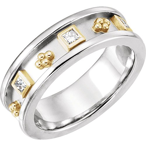 (14K White & Yellow 1/3 CTW Diamond Etruscan-Style Band)