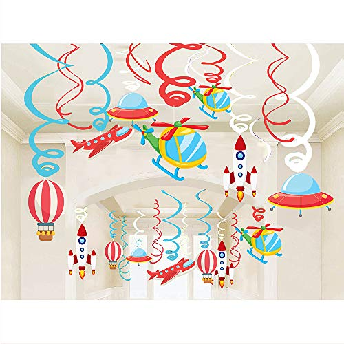 30PCS Airplanes Hanging Swirl Home Decorations for Kids Birthday Party Supplies