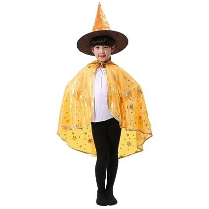 Mantello per Halloween Shining six-star a forma di ventaglio e zucca  travestimento strega guidata mantello con cappello per bambini 7440efcf3ed6