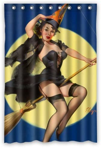 Amazon Com Bathroom Shower Curtain Sexy Pin Up Girl I M A Halloween Witch Vintage Retro Pin Up Girls Body Art Work Canvas Painting Style Waterproof Polyester Fabric 48 W X72 H Rings Included Home