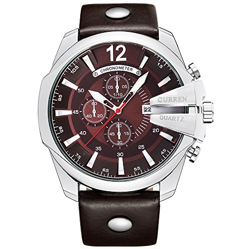 Curren Men Watches Top Brand Luxury Gold Male Fashion Leather Strap Outdoor Casual Sport Wristwatch With Big Dial (silver (Mens Silver Dial Luxury Watch)