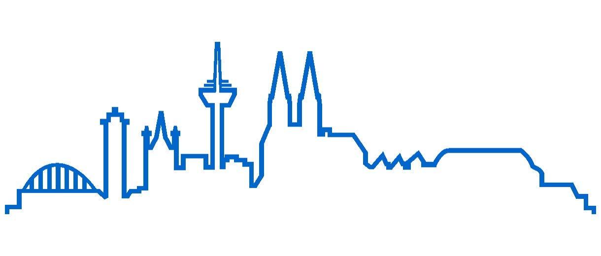 plot4u Kö ln Skyline Aufkleber Silhouette in 8 Grö ß en und 25 Farben (15x4, 4cm azurblau)