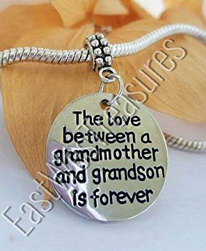 Grandmother Grandson Love Charm Bracelet, Necklace, Keychain, Jewelry Gift fro Grandma From Grandson