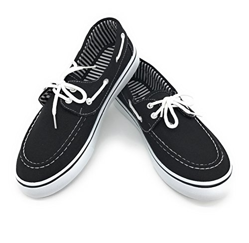 Blue Berry EASY21 Women Canvas Round Toe Lace up Flat Sneaker Oxford Boat Shoe,Black,Size 8