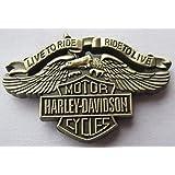 "Metal Enamel Pin Badge Brooch Antique Brass Finish Harley Davidson ""Live To Ride"""