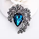 GAOQIANGFENG Vintage crystal brooch brooch brooch jewelry retro Wedding Jewelry,blue